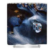 Autumn Ice In A Creek Shower Curtain