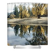 Autumn Leaves Growing Along A Gravel Shower Curtain