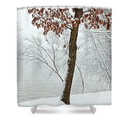 Autumn Leaves In Winter Snow Storm Shower Curtain