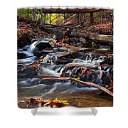 Autumn Moving Water With Foliage Shower Curtain
