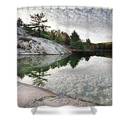 Autumn Nature Lake Rocks And Trees Shower Curtain