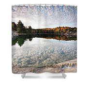 Autumn Nature Lake Rocks And Trees Panorama Shower Curtain