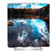 Autumn On Cary Lake Shower Curtain by David Patterson