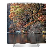 Autumn Pond Reflections Shower Curtain