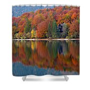 Autumn Reflections On Lake Bohinj In Slovenia Shower Curtain