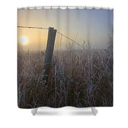 Autumn Sunrise Over Hoar Frost-covered Shower Curtain