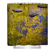 Autumn Tree Reflections With Rocks On The Muskegon River Shower Curtain