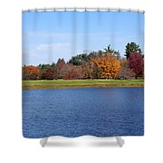 Autumn Trees By The Lake Shower Curtain