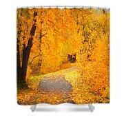 Autumn's Golden Corner Shower Curtain