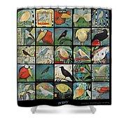 Aviary Poster Shower Curtain