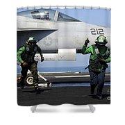Aviation Boatswain Mates Signal A Clear Shower Curtain