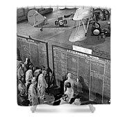 Aviation Cadets Check Flight Boards Shower Curtain