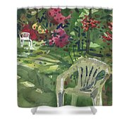 Azaleas And Lawn Chairs Shower Curtain
