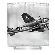 B25 In Flight Shower Curtain by Greg Fortier