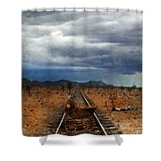 Baby Buggy On Railroad Tracks Shower Curtain