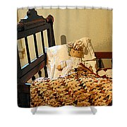 Baby Doll In Crib Shower Curtain