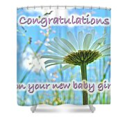Baby Girl Congratulations Greeting Card - Oxeye Daisies Shower Curtain