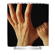 Baby Grasps Mothers Hand Shower Curtain