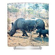 Baby Rhinoceros And Mother Shower Curtain