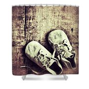 Baby Shoes On Wood Shower Curtain