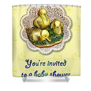 Baby Shower Invitation - Yellow Ducklings Figurine Shower Curtain