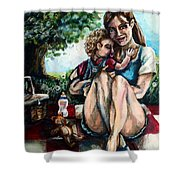 Baby's First Picnic Shower Curtain