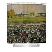 Back Breaking Work Shower Curtain