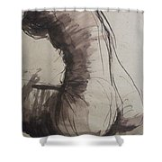 Back Torso - Sketch Of A Female Nude Shower Curtain