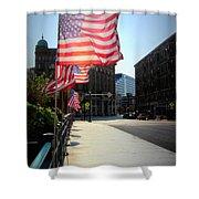 Backlit Flag Shower Curtain