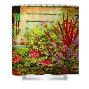 Backyard Flower Garden Shower Curtain