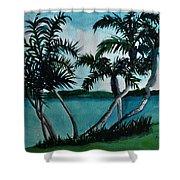 Backyard Palms Shower Curtain