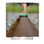 Balance With Her Feet Shower Curtain