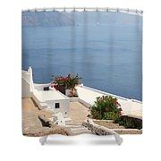 Balcony Oia Santorini Greek Islands Shower Curtain