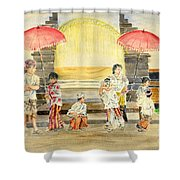 Balinese Children In Traditional Clothing Shower Curtain