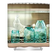 Ball Jars And White Rooster Shower Curtain