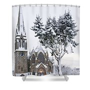 Ballater Church In Snow Shower Curtain
