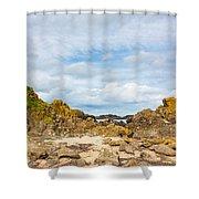 Ballintoy Bay Basalt Rock Shower Curtain