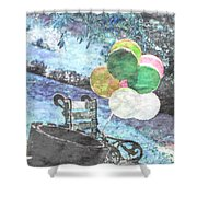 Balloons In The Park Shower Curtain