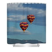 Balloons Over The Rockies Painterly Shower Curtain
