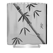 Bamboo Art In Black And White Shower Curtain