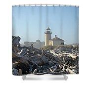 Bandon Oregon Lighthouse Art Prints Driftwood Shower Curtain by Baslee Troutman