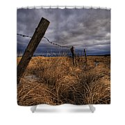 Barbed Wire Fence Posts With Dark Sky Shower Curtain