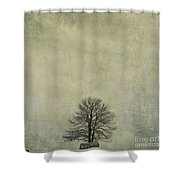 Bare Tree. Vintage-look. Auvergne. France Shower Curtain