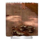 Barefoot Girl On Sidewalk With Roller Skates Shower Curtain
