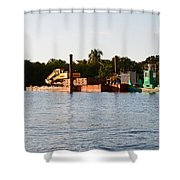 Barge In Naples Bay Shower Curtain
