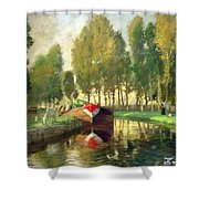 Barge On A River Normandy Shower Curtain