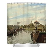 Barge On The Seine At Bougival Shower Curtain by Camille Pissarro