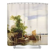 Barges On A River Shower Curtain by Richard Parkes Bonington