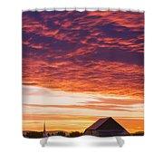 Barley Fields, Barn, Church Shower Curtain