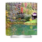 Barn And Pond In The Fall Shower Curtain